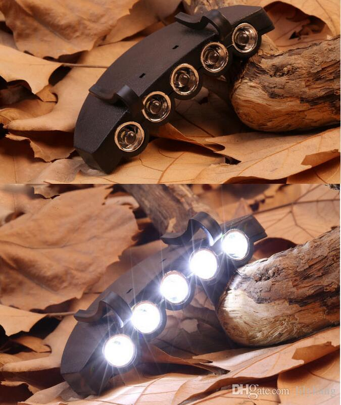 High Quality Clip On 5 LED Head Cap Hat Light HeadLamp Headlight Torch For Outdoor Fishing Camping Hunting Black