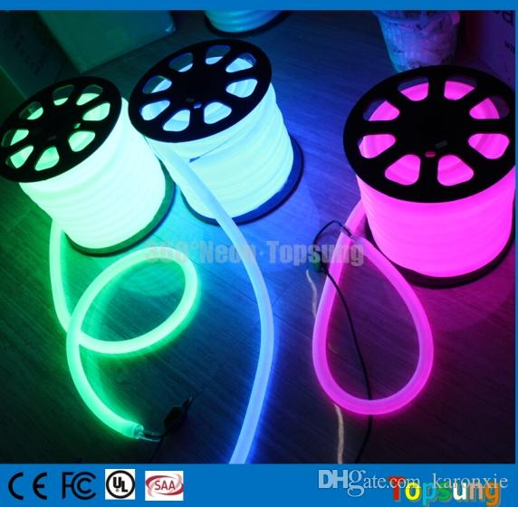 25meter Roll 240V Quality 360 Degree DIA 25mm Round Flexible Neon Lamps  Rope 100 Led/m Red Yellow Blue Green White 230v 220v Round Flexible Neon  Round Neon ...