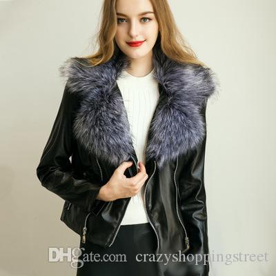 New Women Black Leather Jackets Fox Fur Collar Long Sleeve Zipper ...