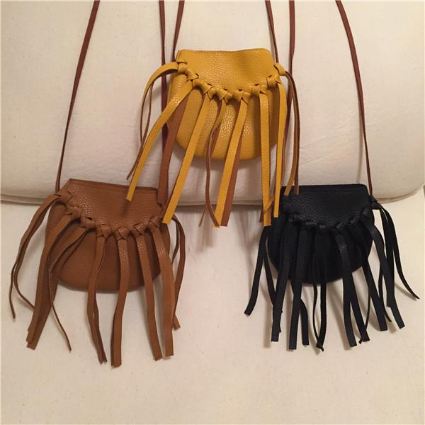 Kids PU Leather Tassels Hangbags Baby Girl Cross-body Fringe Bag Cute Fashion pu leather Hangbag 4colors