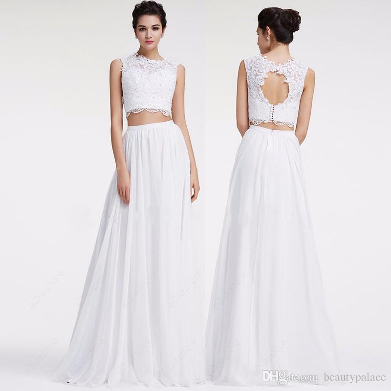 O laço branco Boho vestido de noiva 2017 Lace chiffon até o chão Chiffon Two Piece Vestidos do casamento de praia Bohemian Keyhole vestido de casamento pa