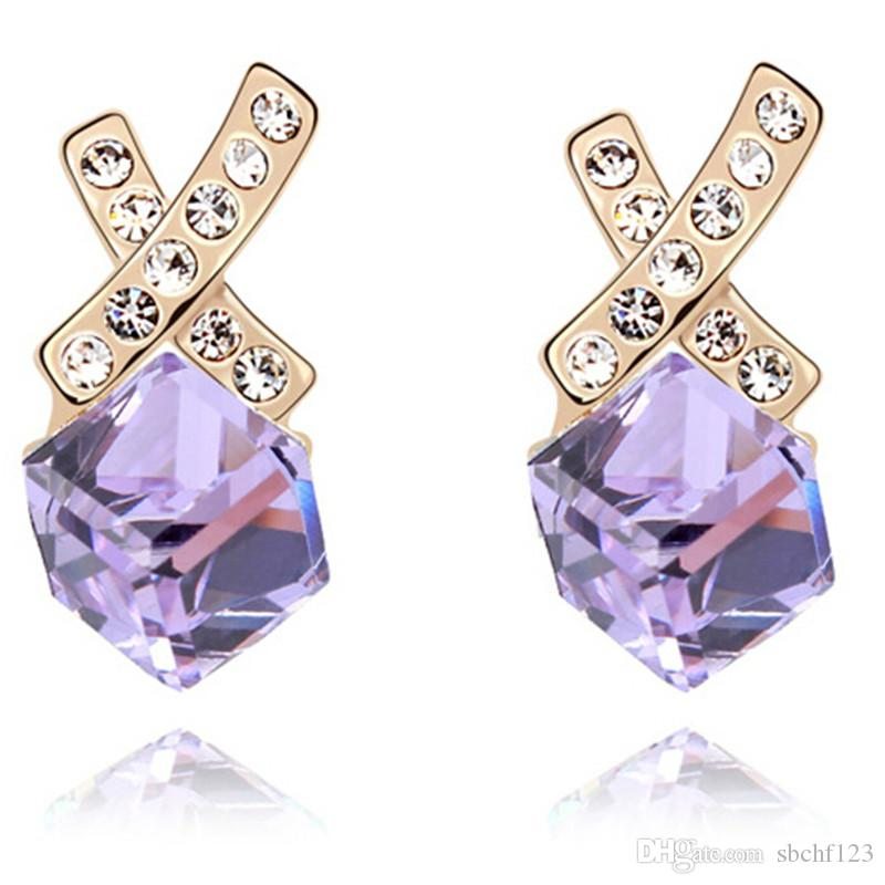 Cross Earrings For Women Jewelry Earrings Stud Bijouterie Made With Crystals from Swarovski Elements Champagne Gold Plated 7504