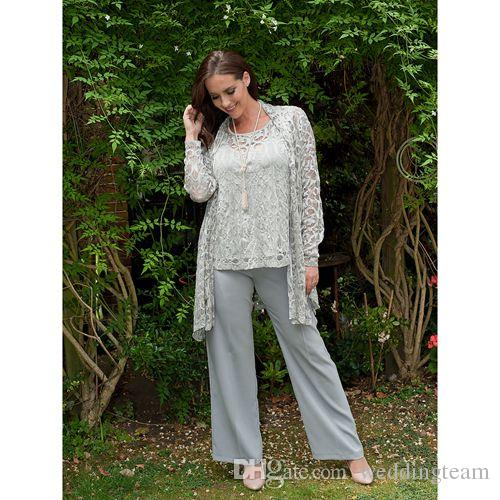 Silver Lace Mother Of The Bride Pant Suits With Jackets Jewel Neck ...