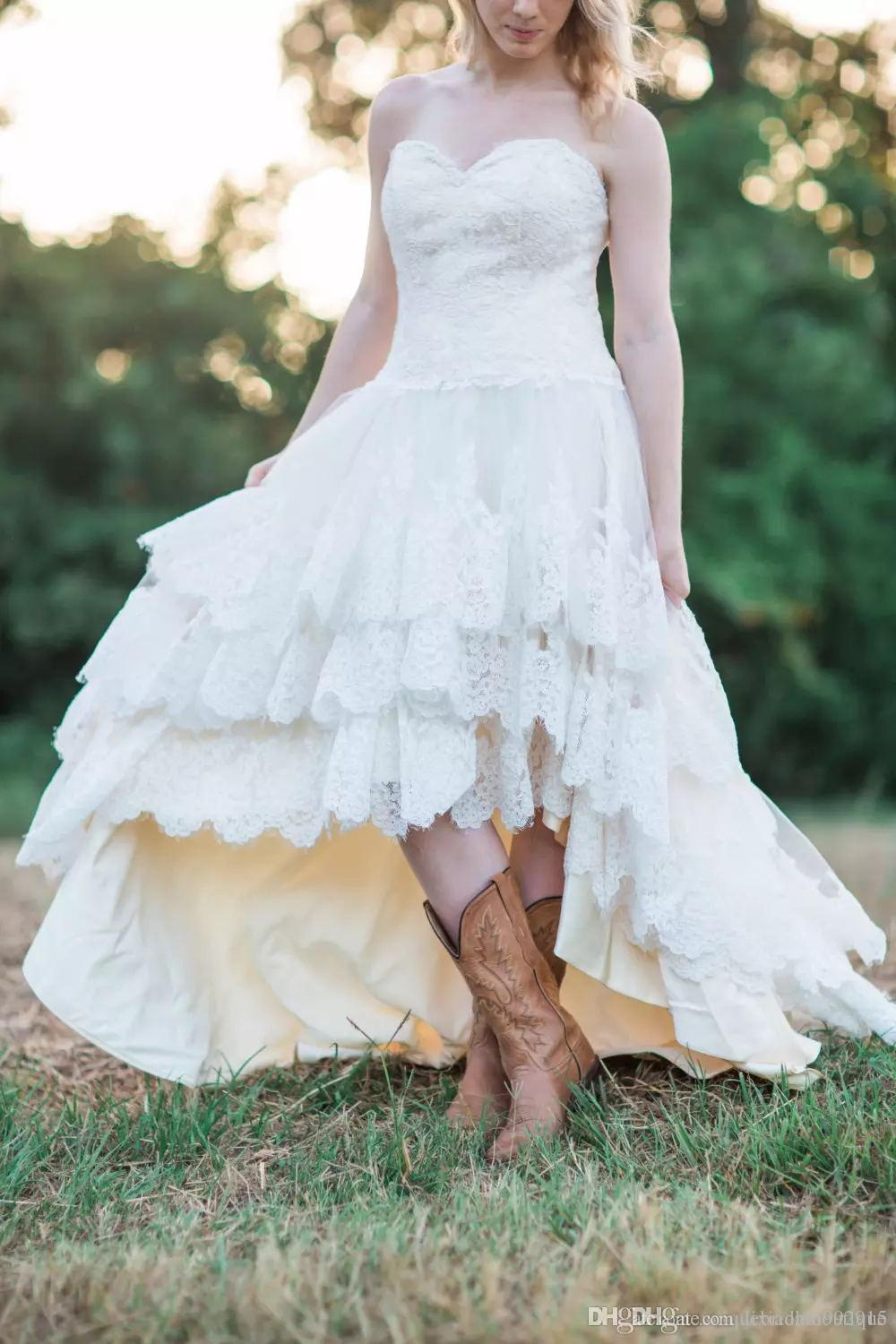 Discount High Low Country Style Wedding Dresses With Lace For