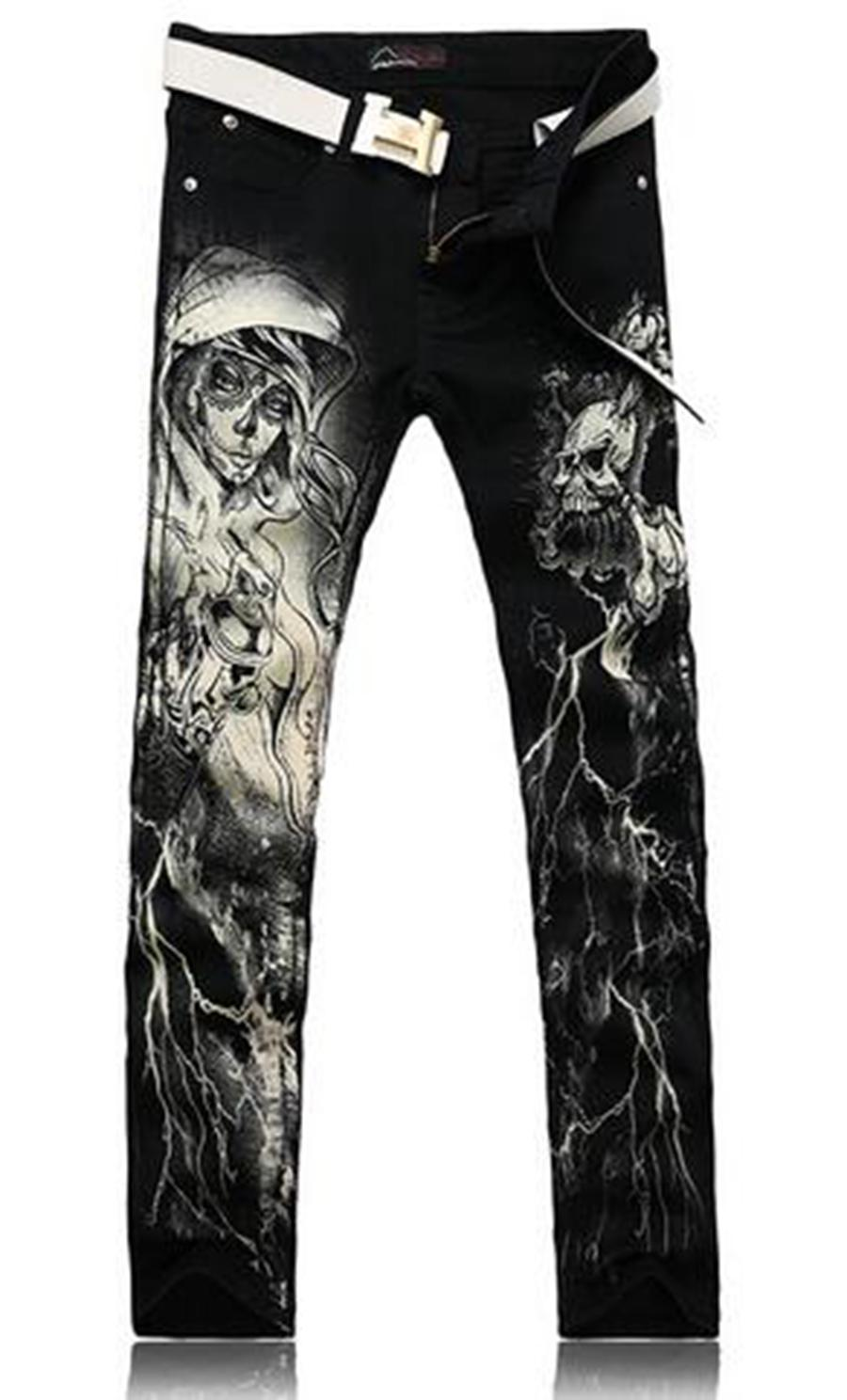 Men's fashion trend in the new han edition cultivate one's morality personality joker nightclub printed cotton denim trousers / 28-36