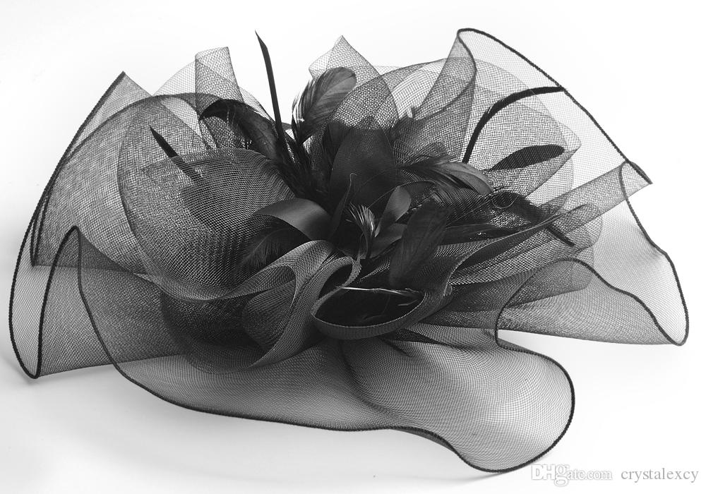lady women party black large netting flower feather mesh handmade hair clip hat bridal headpiece fascinator gift