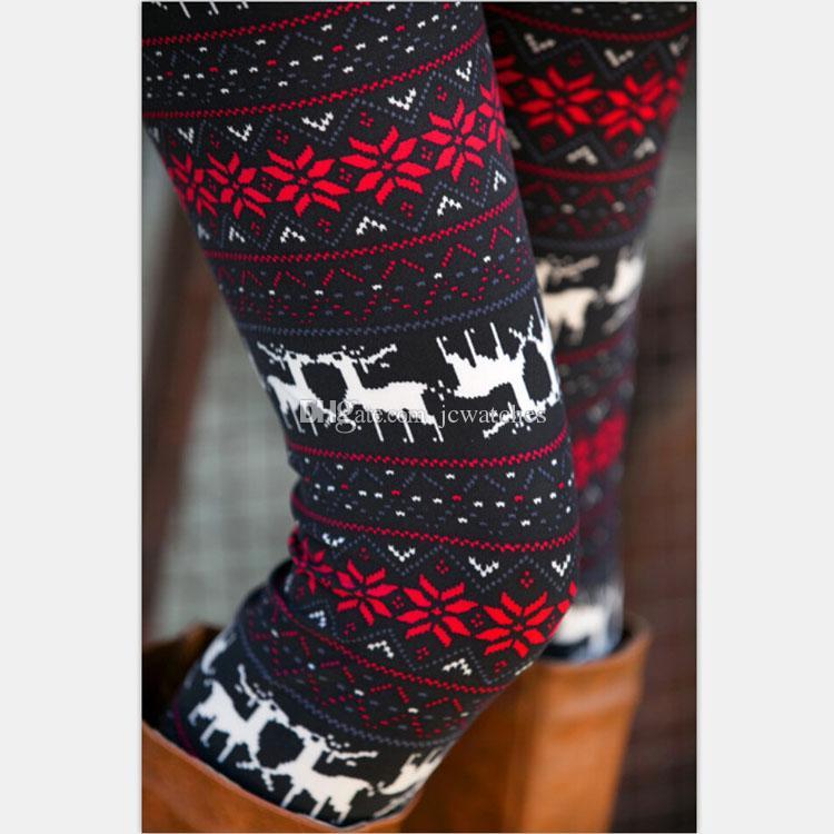 Flocons De Neige De Noël Impression Leggings DHL Livraison Gratuite 13 Couleurs Tricoté Femmes Pantalon Extensible Nordic Épaisse Chaud Bootcut Cadeau De Noël