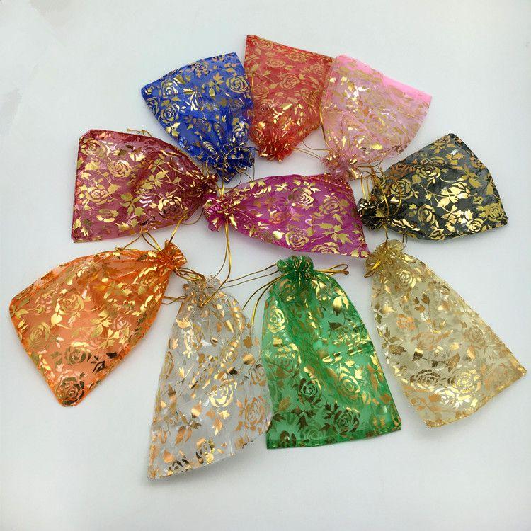 Ouro Rosa Organza Sacos De Embalagem De Jóias Bolsas De Casamento Favores Do Partido Do Presente De Natal Saco 9x12 cm 3.6 x 4.7 polegada