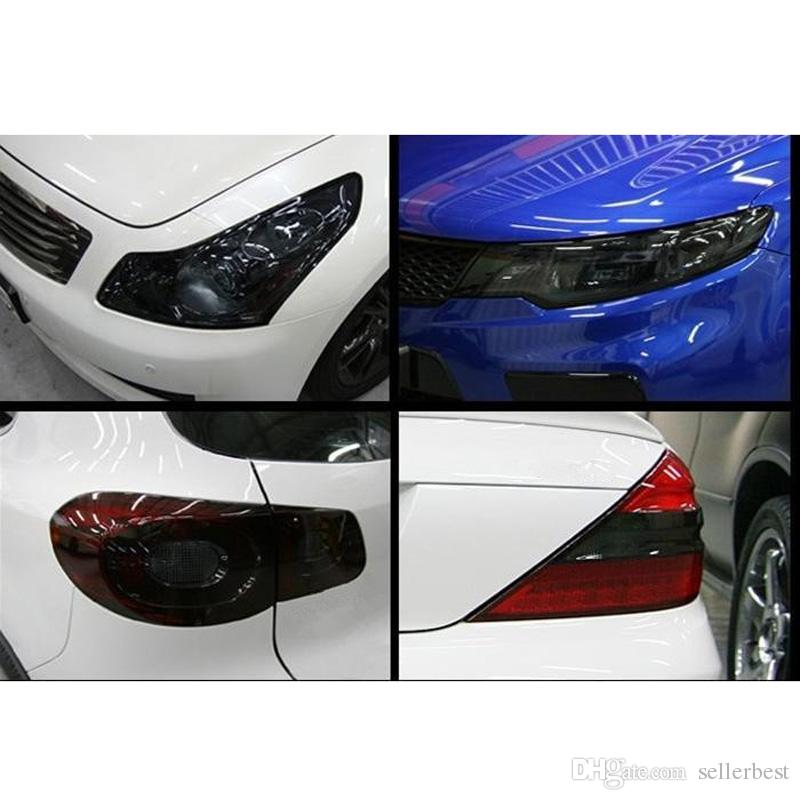 Venta caliente 120 * 30 cm Auto Car Light Faros Taillight Tint Vinyl Film Sticker Sticker Hoja de Luz Negro Luz de Coche que Cambia de Color Pegatina
