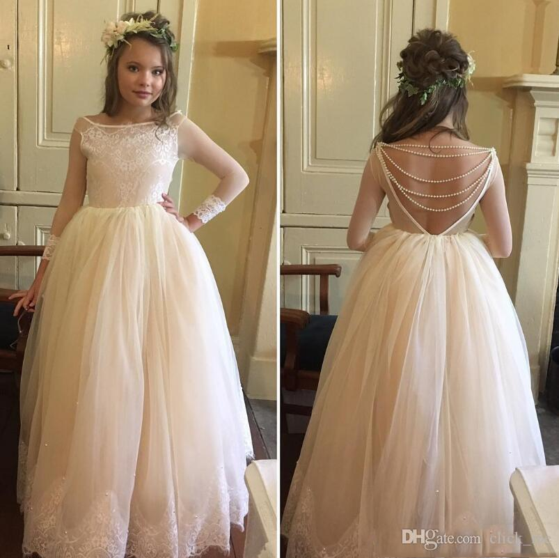 Illusion Long Sleeves Flower Girl Dresses For Weddings Bateau Sheer Neck Girls Pageant Dress Sexy Back Pearls Tulle Kids Communion Dress