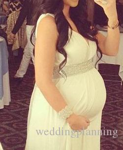 2016-2017 Annelik Gelinlik Hamile Kadınlar Için Kolsuz Boncuklu Kristal Rhinestone Empire Şifon Gelin Törenlerinde Custom Made Elbise