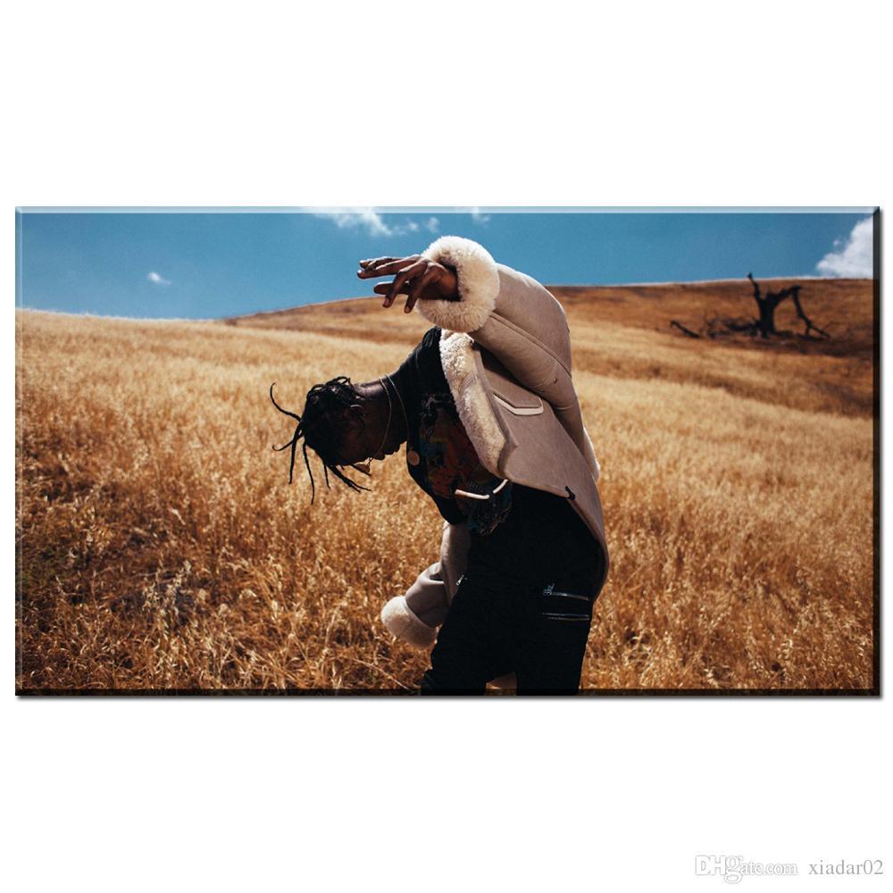 ZZ1616 ترافيس سكوت الأمريكية الهيب هوب موسيقى مغني الراب نجمة مخصص فن الطباعة المشارك قماش اللوحة جدار الصورة ديكور المنزل الفن