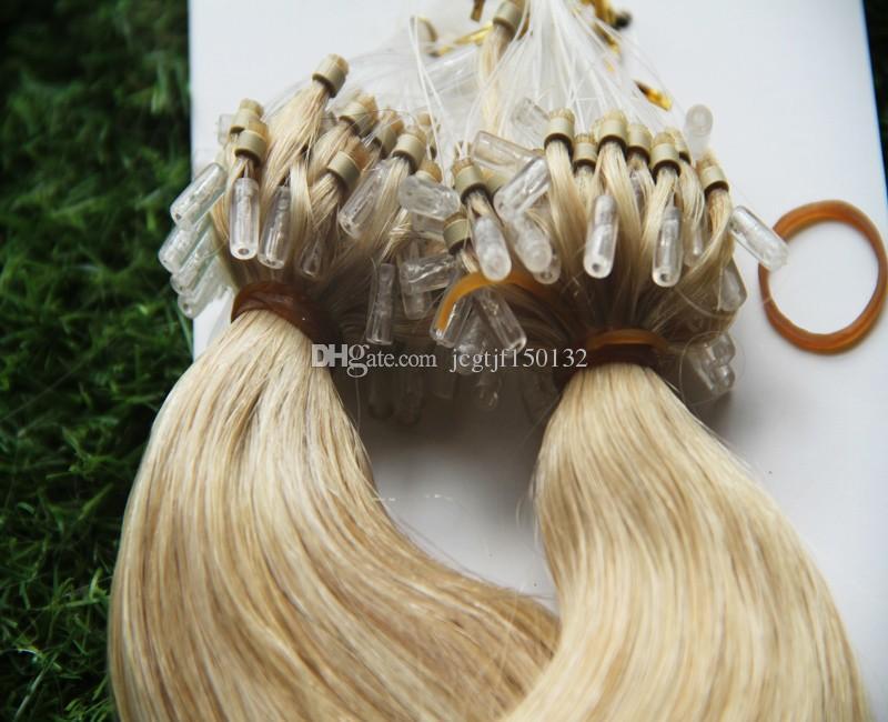 마이크로 반복 반지 머리 제품 100s 금발 브라질 머리 마이크로 반복 사람의 모발 연장 100g 몸 파