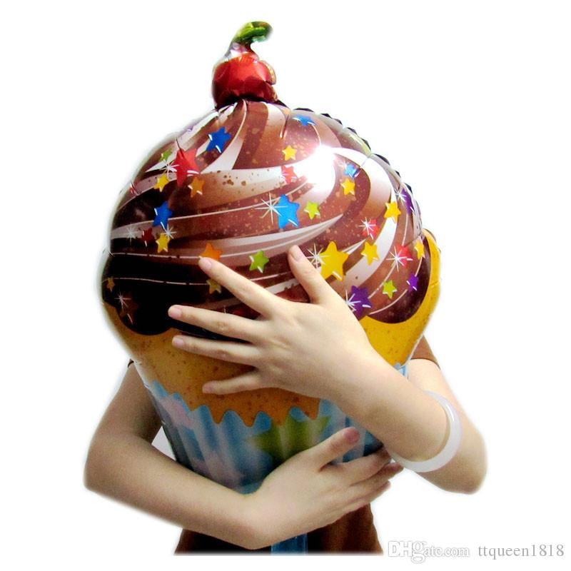 Chocolate Cherry Star Print Sweet Cake Shape Foil Balloons Birthday Party Decoration Balloons Children's Toys