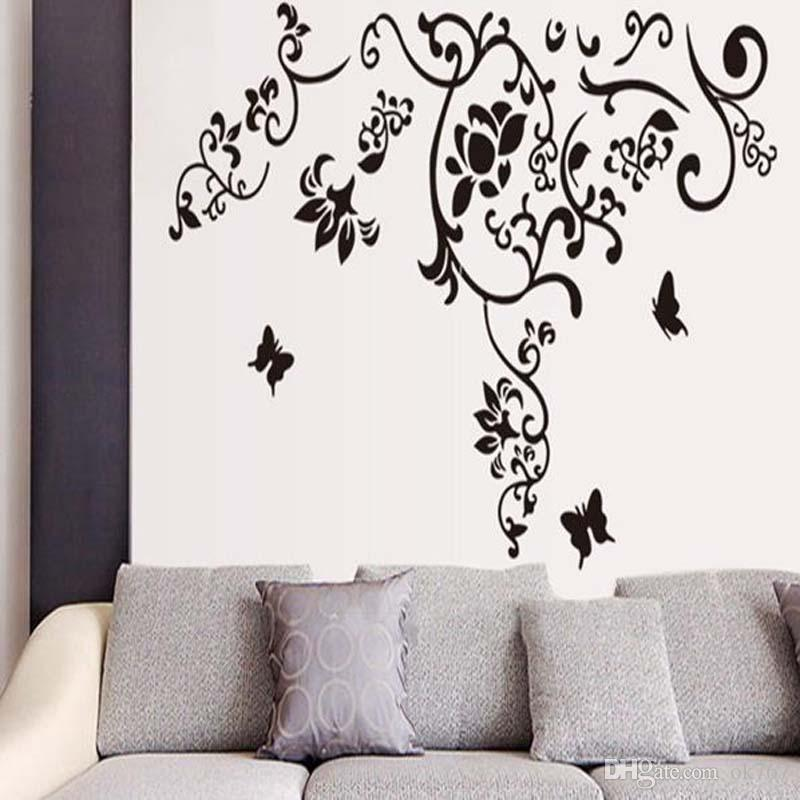 Hot Living room TV background bedroom romantic fashionable removable Art Butterfly vine flower wall stickers free shipping