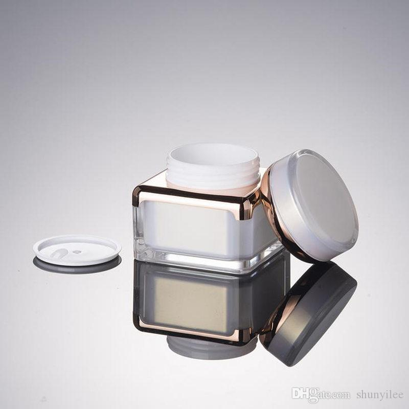 30g 50g Pérola Branca ACRÍLICO Quadrado Forma Creme Garrafa Frasco 15 30 50 ml Loção Sérum Essência Frasco Da Fundação Embalagem Cosmética F20171852