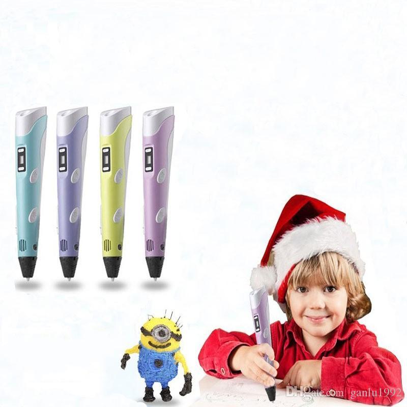 Lustige Kunststoff 3D Drucker Stift Persönlichkeit Neuheit Vier Farben Zeichenwerkzeug Für Kind Puzzle Graffiti Stifte Hohe Qualität B R