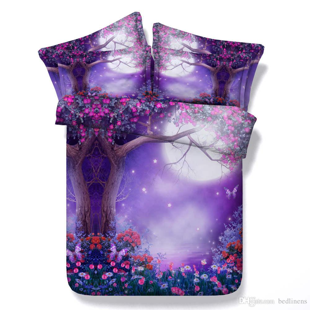 Sexy Purple Floral 3D Printed Bedding Set Twin Full Queen King Size Bedspread Bedclothes Duvet Covers Sheet for Adult Girl's Bedroom Decor
