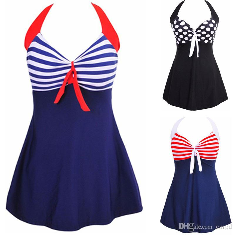 7b9b8a85132 2019 Fashion Sexy Stripe Padded Halter Skirt Swimwear Women One Piece  Swimsuit Beachwear Bathing Suit Swimwear Dress Plus Size M 4XL From Cnrpd