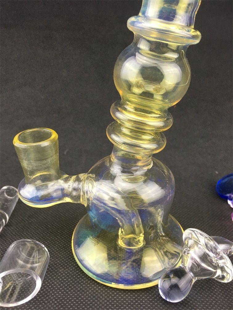 vftNew Plataformas de aceite de vidrio Water Bong Big Heady Burner Cuarzo Banger Beaker Bongs de colores baratos Reciclador Bubbler 14mm Bol de vidrio Amarillo Azul