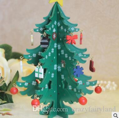 mini wooden christmas tree diy cartoon wooden artificial christmas tree decorations ornaments wood xmas trees gift ornament table decoration paper christmas