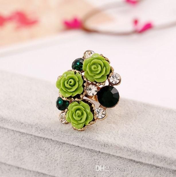 Banhado a ouro Lindo Flor Rosa anéis de dedo conjunta jóias Anel de Abertura Anel Knuckle Resina Do Vintage Unhas Anel Banda Mulheres Acessórios