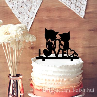 Cake Toppers For Weddings, Sweet Love Heart with 2 Cut Cats ...