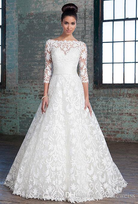 Discount Modest Plus Size Wedding Dresses With 3/4 Long Sleeves Lace ...