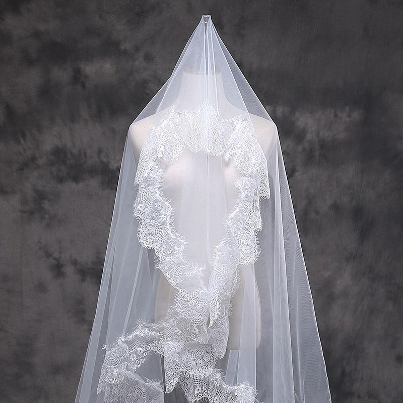 Bon marché voiles longues de mariée 1 couche de mariage de mariage de lace de dentelle à la main simple tulle cathédrale voiles voiles d'ivoire blanche pour mariage