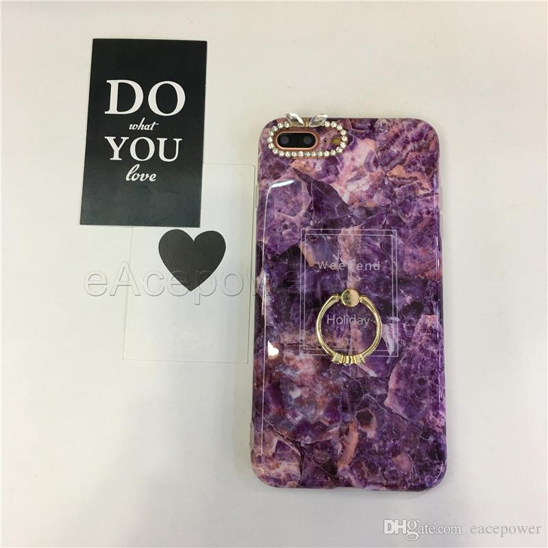 For iPhone X 8 7 6 6s Plus Soft TPU Marble Design Case with Kickstand Diamond Phone Shell