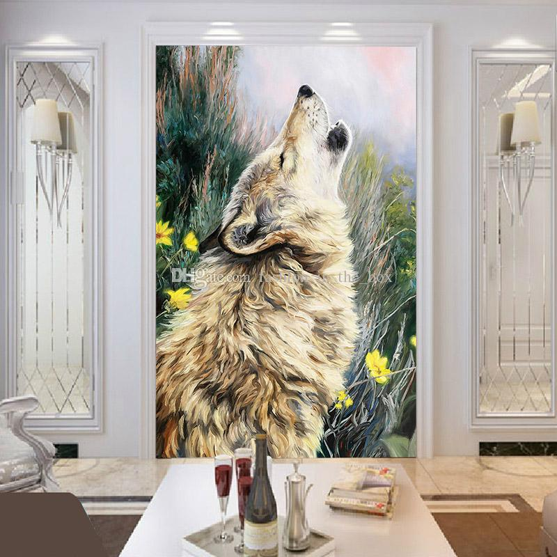 wolf wall mural oil painting photo wallpaper custom 3d 13872 | wolf wall mural oil painting photo wallpaper