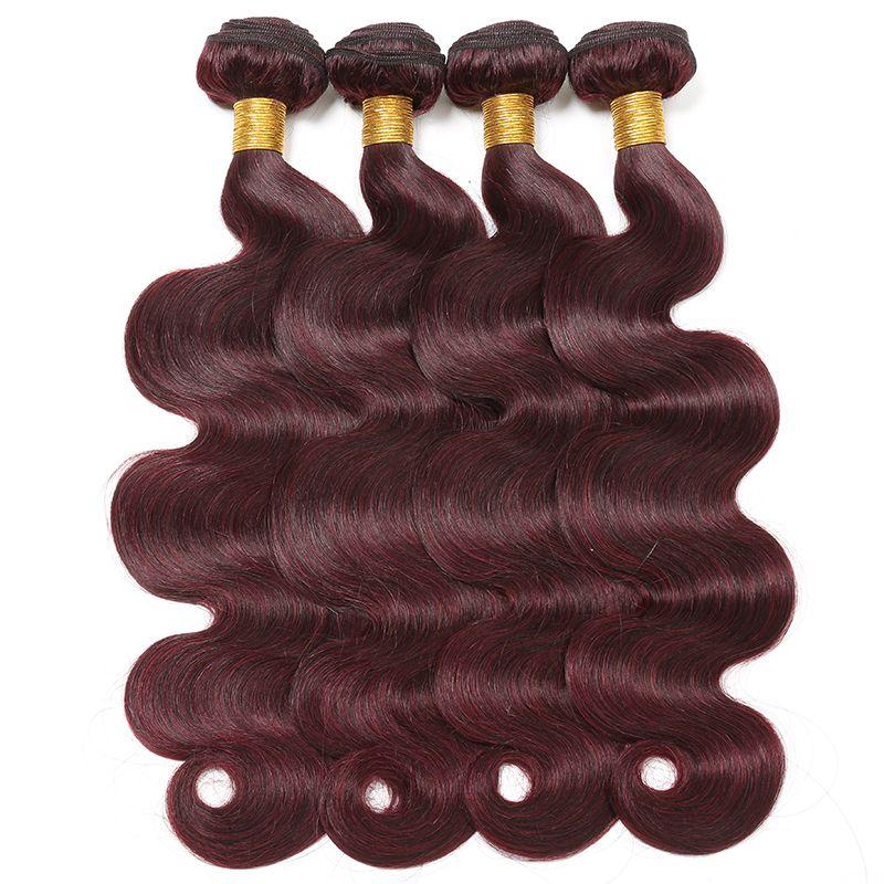 Red Hair Weave Body Wave 99J Brazilian Peruvian Malaysian Indian Human Hair Weaves Body Wave 3/4 Bundles Brazillian Hair Extensions