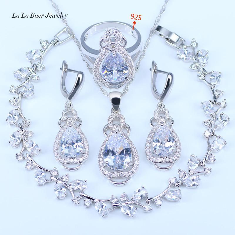 LB Meilleur Mariage Présent Purple Cristal Blanc Zircon Ensembles De Bijoux 925 logo Couleur Argent Femmes Bracelet / Boucles D'oreilles / Collier / Anneau