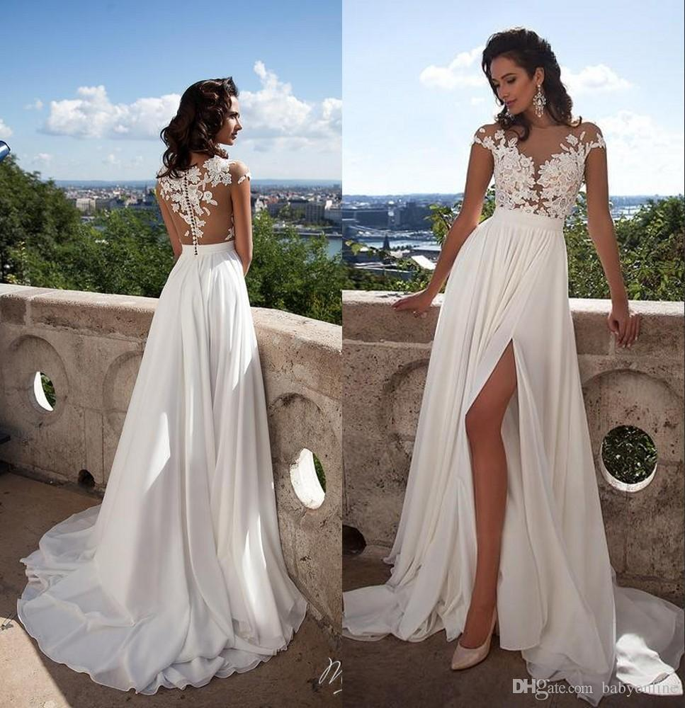 Summer Beach 2019 Sexy Sheer Lace Appliqued A Line Wedding Dresses Capped Sleeves High Split Chiffon Cheap Bridal Gowns BM0845