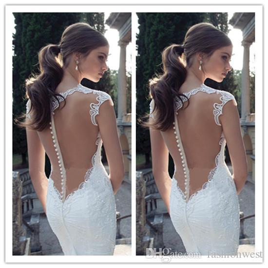 2015 vestidos de novia de encaje sexy sirena de encaje apliques vestidos de novia vestidos de novia de tamaño personalizado blanco marfil temperamento profundo v cuello sin respaldo