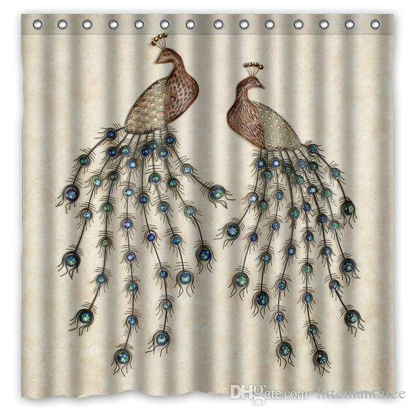 2018 Couple Peacock Design Shower Curtain Size 180 X Cm Custom Waterproof Polyester Fabric Bath Curtains From Littemanthree 3016