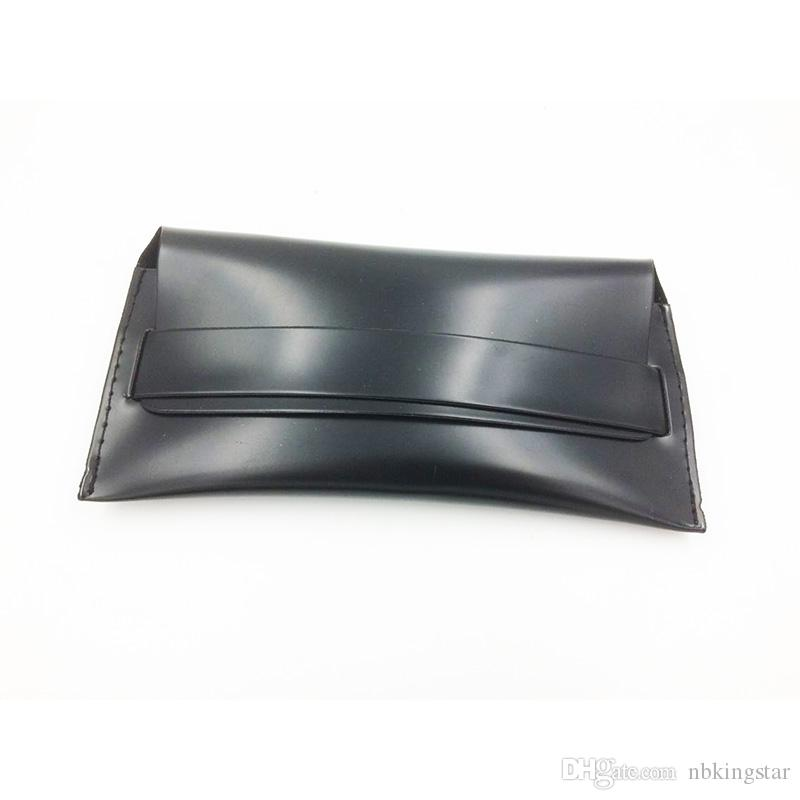 Schwarzes Weinlese-Sonnenbrille-Kasten-handgemachtes weiches Leder-Glas-Kasten-Eyewear-Zusatz-Brillen-Beutel / geben Verschiffen frei