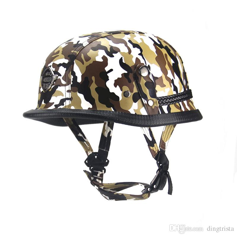 TKOSM German Leather Helmet Harley WWII Style BLACK German Motorcycle Open Face Half Helmet Chopper Biker Pilot Vespa Camouflage