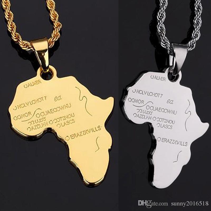 304d2b8185f9 Compre Diseño Único De Oro De Plata Mapa Africano Colgante De Collar 18 K  Chapado En Oro De Cadena Larga Collar De Joyería Para Hombre Regalos Del  Partido A ...