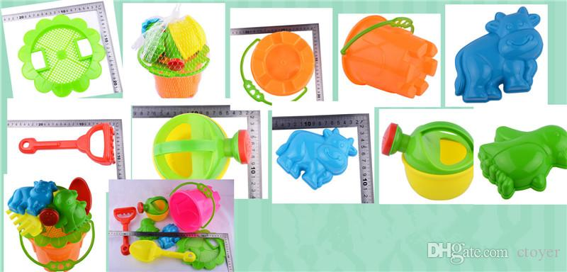 Wholesale 8 Seaside Excavating Tools Beach Sand Play Water Toys The bucket Sand mold Children's beach toys Model Building funny Sand Toys