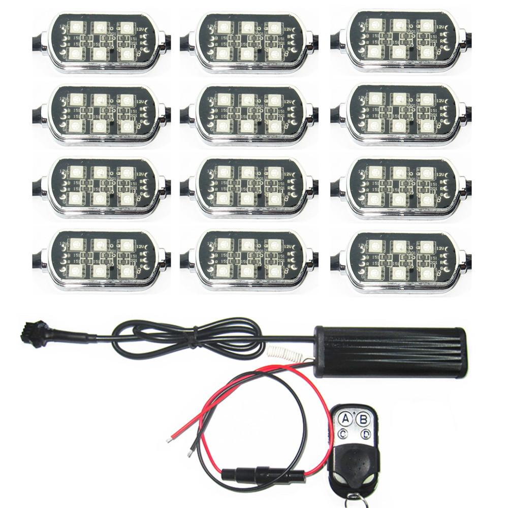 12 POD 72 5050 SMD RGB LED Universal Motocicleta Sotaque Neon Underglow Luz 15 Kit de Mudança de Cor