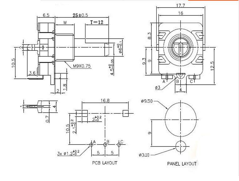 Encoder digitale del potenziometro EC16 Interruttore encoder a 360 impulsi 12 gambo lungo 25mm gambo mezzo