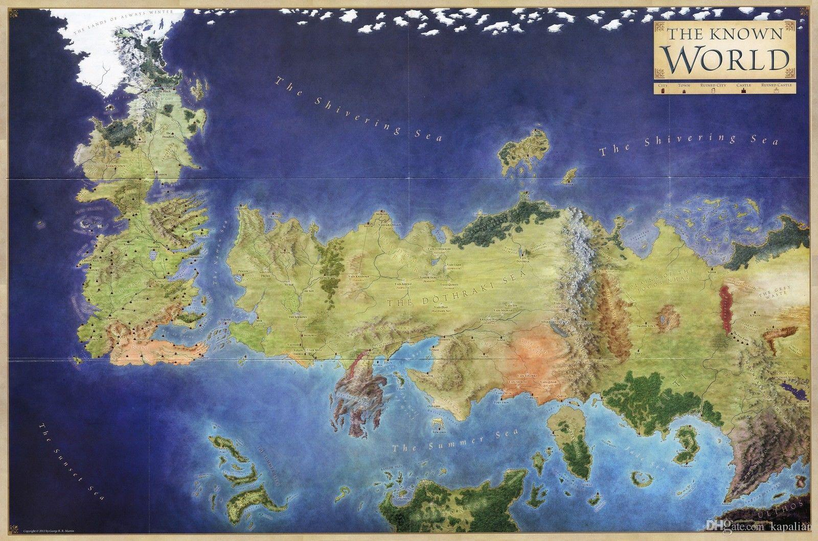 2018 game of thrones the known world map in colour poster printing 2018 game of thrones the known world map in colour poster printing home decor art posters print photopaper 16 24 36 47 inches from kapalian 964 dhgate gumiabroncs Gallery