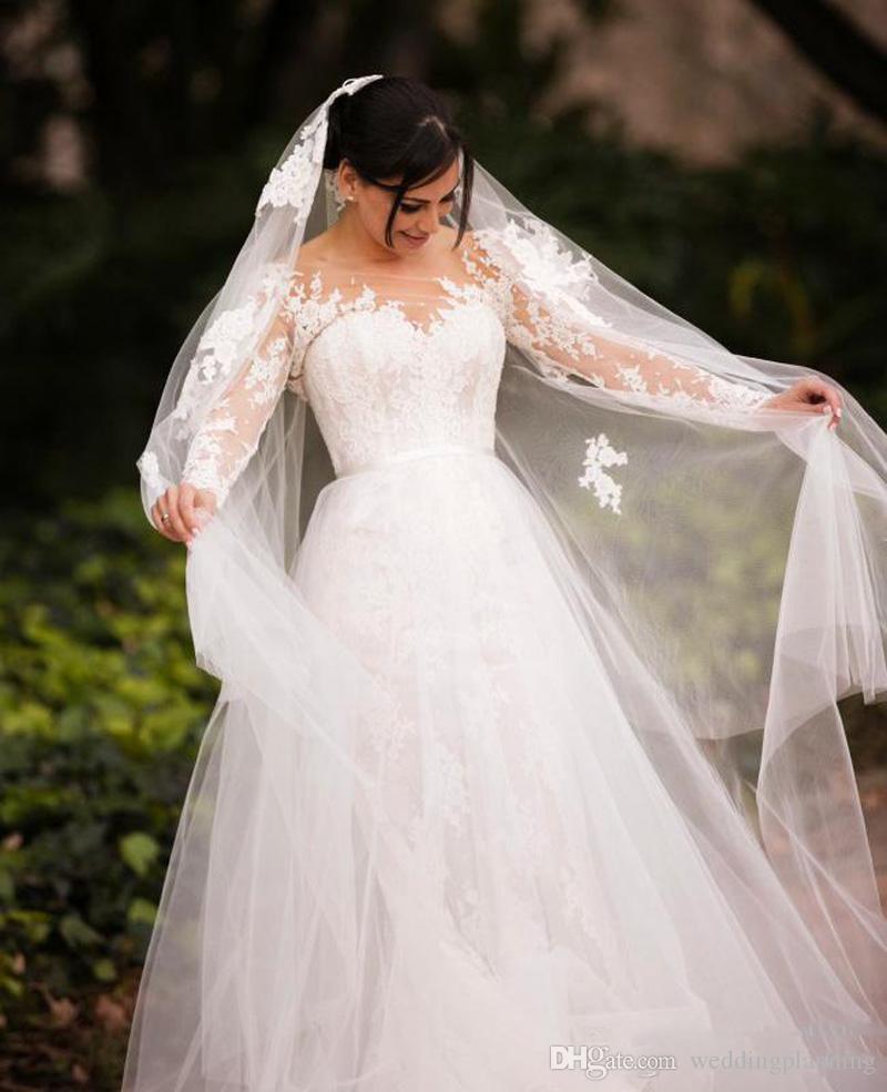 Böhmische French UK Spitze Bluse Brautkleider mit offener Rücken 2017 Sheer Hals Langarm Arabische Brautkleider Abnehmbare Tüll-Sweep-Zug