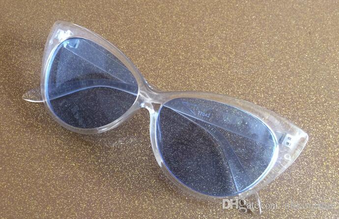 Weinlese-Plastik-Cateye-Rahmen Sonnenbrille-transparente Gelee-Farben-Glas-Art- und Weisefrauen-Dekoration-Mann-klassischer Eyewear / Freies Verschiffen
