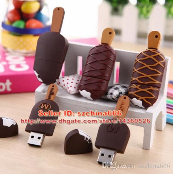 5 styles cute ice cream pendrive usb flash drive pen drive 4GB 8GB 16GB 2GB USB 2.0 Memory Stick U disk gift