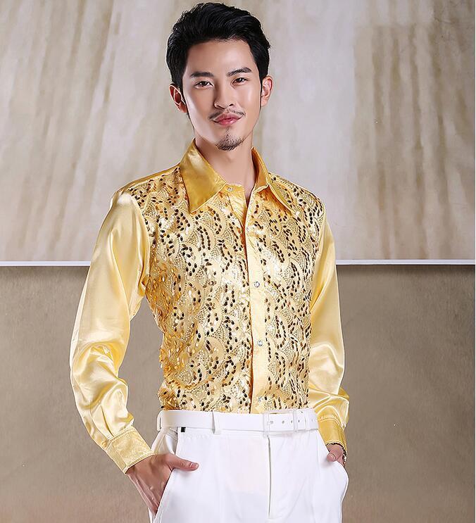 Men's Moda Luxo Elegante Casual Designer Dress Camisa Cultive a camisa de manga comprida de uma camisa de manga comprida, camisa de dança brilhante LLK33