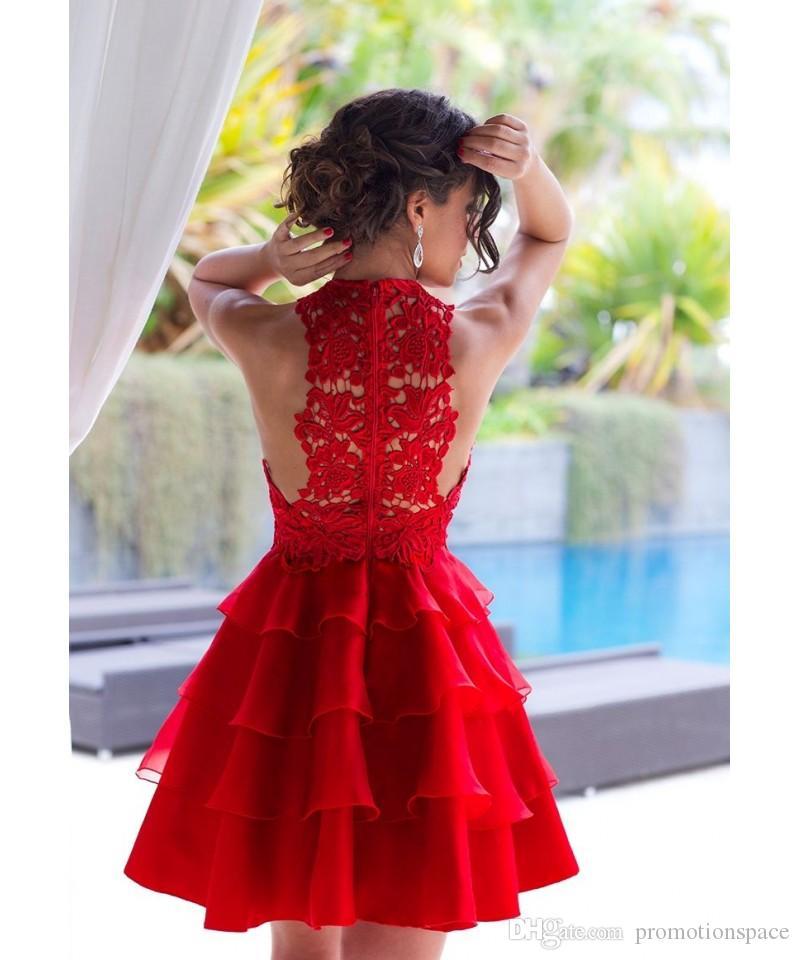 Vestidos atractivos del regreso al hogar rojos 2016 Mini vestido corto del cóctel del cordón de la parte posterior hueco de la joya con gradas faldas vestidos cortos del baile de fin de curso BA2953