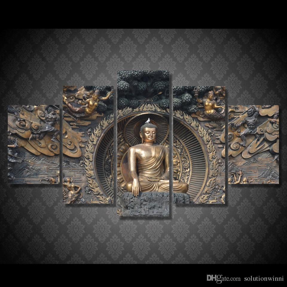 2019 Hd Printed Buddha Statue Painting Wall Art Room Decor