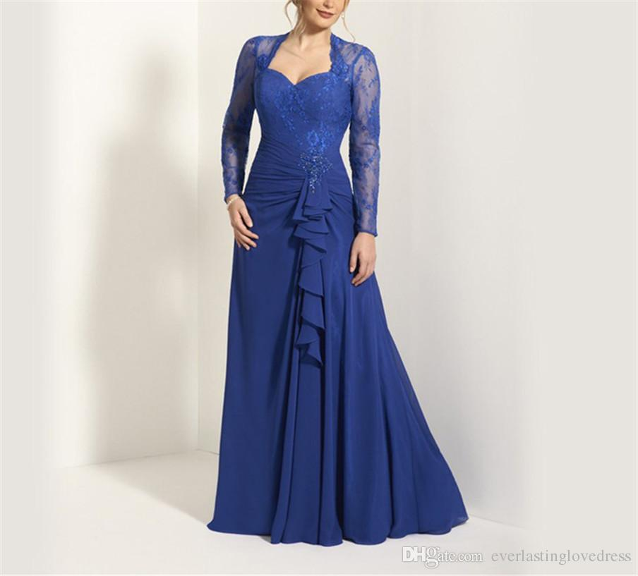 Sweetheat Long Sleeves Applique Royal Blue Chiffon Mother